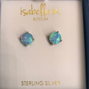 Fire opal sterling silver pierced earrings studs